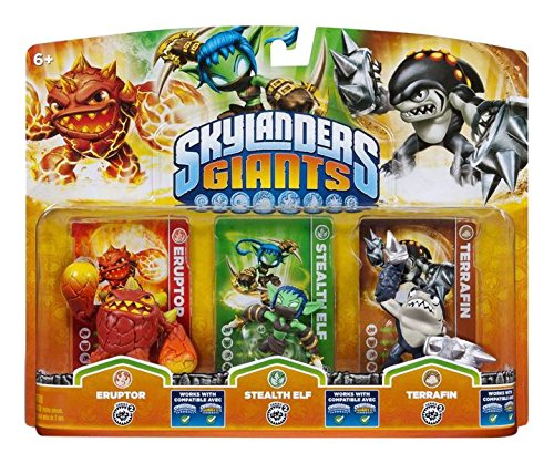 Skylanders Giants: Eruptor + Stealth Elf + Terrafin. Compatibile con Trap Team