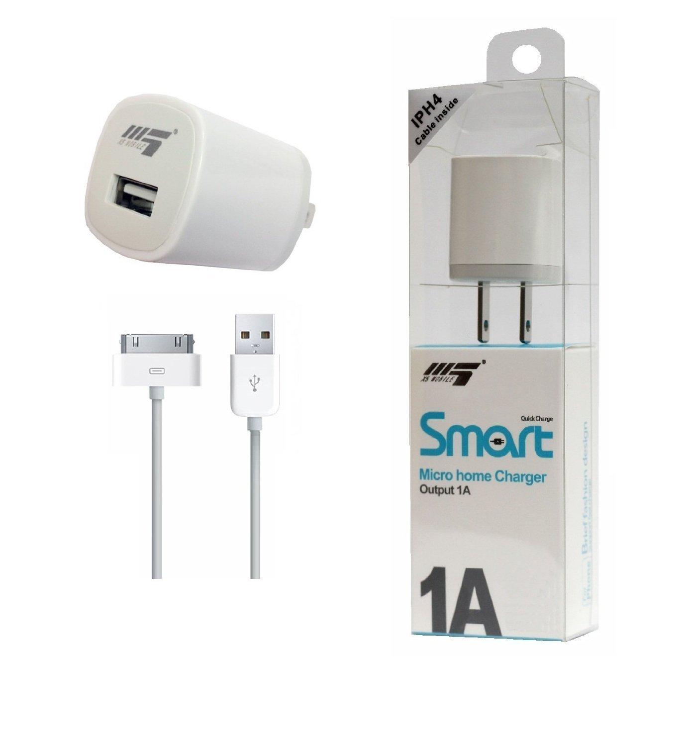 X5 Mobile Fast USB Home And Travel Wall Charger for Apple iPad 2, New iPad 3, iPhone 4s 4 3 3Gs + 1 iPhone 30pin cable (iphone 4s 4 3 3gs and ipad 2 and 3)