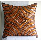 Orange Illusion- Decorative Pillow Covers - Silk Pillow Cover Embellished with Beads & Sequins