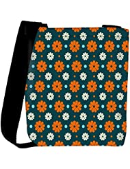Snoogg Multicolor Floral Pattern Designer Womens Carry Around Cross Body Tote Handbag Sling Bags