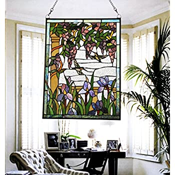 Makenier Vintage Tiffany Style Stained Art Glass Wisteria and Hummingbirds Window Panel Wall Hanging