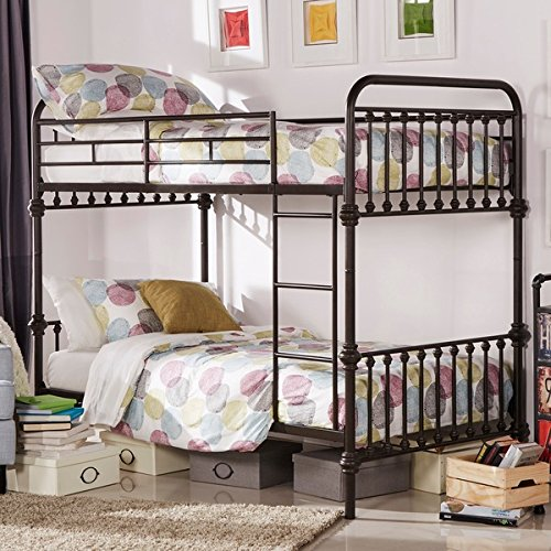 Kid`s Bunk Bed Frame Wrought Iron Cast Metal Vintage Antique Rustic Country Style Bedroom Furniture