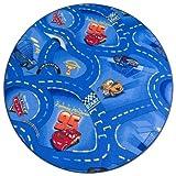 Kinderteppich Cars blau rund