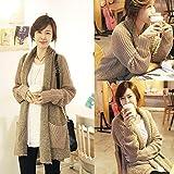 Vktech暖かい冬ロング丈ニットコート スプライスカーディガン 韓国式ファッション大きいサイズ ルーズ