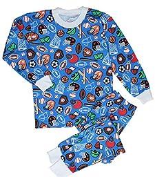 Sara\'s Prints Little Boys\' 2 Piece Pajamas, Sports Blue, 2