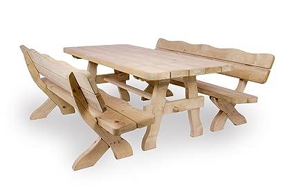 Gartenmöbel Set 'Farm' 200 cm, Gartentisch und 2 Gartenbänke, ländliche, rustikale Gartenmöbel, aus 60 mm dickem Fichtenholz