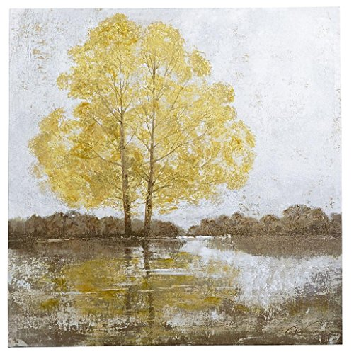 Art Painting-Gray Landscape Yellow Tree Modern Abstract Landscape Oil Painting On Canvas Wall Art Deco Home Decoration (Unstretch No Frame) front-958704