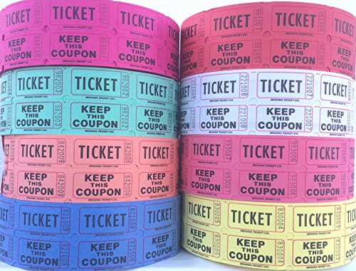 Raffle Tickets - (4 Rolls of 2000 Double Tickets) 8,000 Total 50/50 Raffle Tickets (4 Assorted Colors) (Two Part Raffle Tickets compare prices)