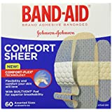 Band-Aid Brand Adhesive Bandages, Comfort Sheer, Assorted, 60 Count