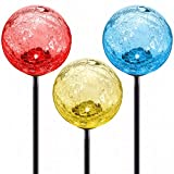 Cracked Glass Solar Stake Lamp 3-Pack by Deneve - Best LED Outdoor Color-changing Decorative Globe Garden Lawn Ornaments - Path Walkway Mosaic Light Moonray Gazing Balls