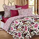Story@Home Floral Print Premium Cotton Satin Soft And Light Weight Luxury Printed Reversible Single Size Comforter Microfibre filler, Maroon