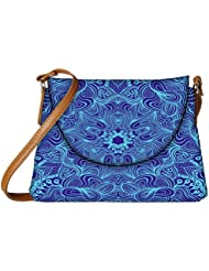 Snoogg Blue And Purple Designer Womens Carry Around Sling Bags