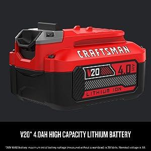 CRAFTSMAN 20V MAX Lithium Ion Battery, 4.0-Amp Hour (CMCB204)
