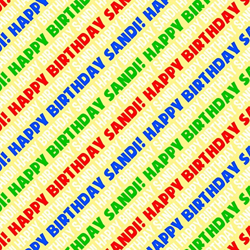 Sandi Happy Birthday Premium Gift Wrap Wrapping Paper Roll - Rainbow Multi-Colored