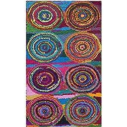 Safavieh Nantucket Collection NAN143A Handmade Abstract Geometric Abstract Art Pink and Multi Cotton Area Rug (2\'3\