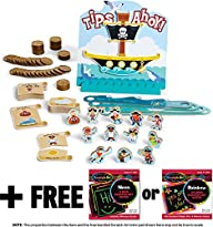 Tips Ahoy: Pirate Ship Balance Family Game + FREE Melissa & Doug Scratch Art Mini-Pad Bundle [4535]