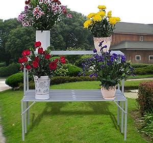 Table porte plante jardiniere etagere en aluminium pour - Etageres plantes exterieur jardiland ...