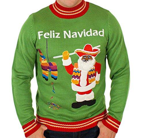 Men's Feliz Navidad Ugly Christmas Sweater in Green By Festified (X-Large)