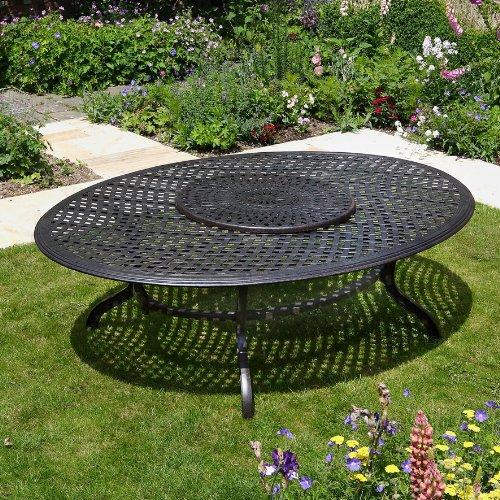 Victoria 250 x 180cm ovales Aluminium Gartenmöbelset – 1 Victoria Tisch + 10 APRIL Stühle günstig bestellen