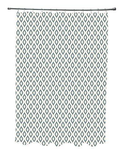 e by design Bird's Eye Shower Curtain, Ivory/Grey/Blue