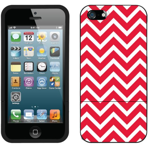 Great Price Red and White Chevron design on a Black iPhone 5s / 5 Slider Case by Coveroo