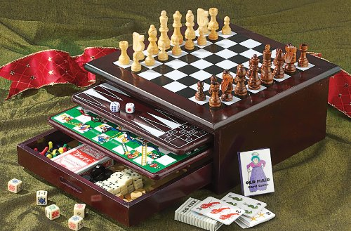 Board game set deluxe 15 in 1 tabletop wood accented for How to play fish table game