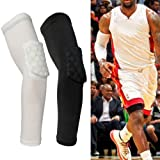 MEIBY Soft Elbow Pad. Polyester Honeycomb Style Arm Sleeve, Anti-Crash Elbow Protective Pad, Prevent Slippery and Arm Guard, For Basketball Outdoor Sports(L,White) (Color: White, Tamaño: Large)