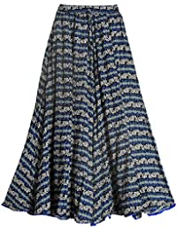 DollsofIndia Floral Print On Blue Lycra Long Skirt - Length - 39 Inches - Elastic Waist - 22 To 36 Inches - Blue...