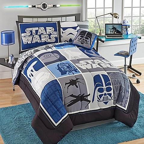 NEW! Modern Star Wars Full Comforter, Sheets, Pillow Cases BONUS Square Pillow Bedding Set and Exclusive Linens N Beyond LED Simple Touch Key Chain