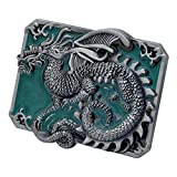 Buckle Rage Adult Mens 3D Enamel Chinese Dragon Tattoo Punk Belt Buckle Green
