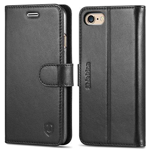 iPhone 6s ケース / iPhone 6 手帳型ケース SHIELDON® アイフォン6s / 6 本革レザーカバー カードポケット スタンド機能 マグネット留め具付き ブラック