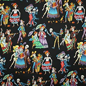 Alexander Henry Folklorico Paseo de los Muertos Day of the Dead Black, 44-inch (112cm) Wide Cotton Fabric Yardage