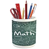 Pencil Pen Holder,Mathematics Classroom Decor,Printed Ceramic Pencil Pen Holder for Desk Office Accessory,School Board Full of Drawings Formulas Shapes Theory Math Word (Color: Style-19)