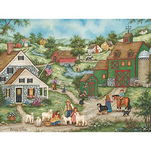 Bits and Pieces - 500 Piece Jigsaw Puzzle -Three Little Lambs - Nostalgic Spring - by Artist Bonnie White - 500 pc Jigsaw