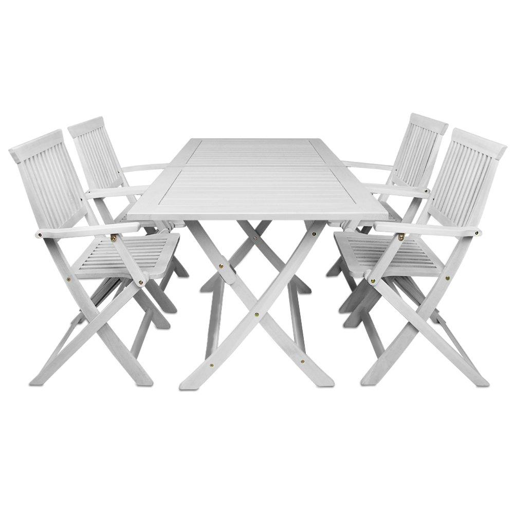 Sitzgruppe Sydney 5tlg. weiss – Gartenmöbel Sitzgarnitur 1 Tisch 4 Stühle jetzt bestellen