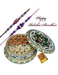 Rajlaxmi_Pearl And Thread Double Rakhi With Dry Fruit Box
