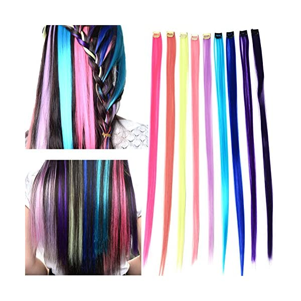 """048e95b4632f5 Remylady® 9Colors 22"""" Korea Synthetic Fiber Rainbow Colorful Clip On In Hair  Extensions Stytlish Eye-watching DIY"""