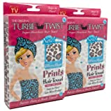 Turbie Twist Microfiber Super Absorbent Hair Towel (2 Pack) Leopard Prints