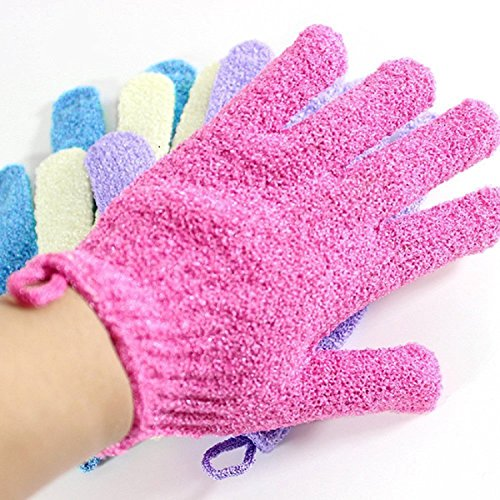 Moonmini® 4 Pair Set Scrubbing Exfoliating Gloves ★ Double Side Durable Nylon Shower Gloves ★ Body Scrub Exfoliator for Men, Women & Kids ★ Bath Scrubber for Acne & Dead Cell (Bath And Shower Scrubber compare prices)