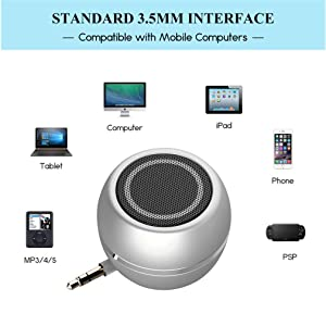 Rumfo Mini Phone Speaker Portable Wireless Plug in Speaker with 3.5mm Aux Audio Jack Rechargeable Plug and Play Clear Bass Speaker Universal For Cell Phone iPad MP3 MP4 Tablet Computer (Silver) (Color: Silver)