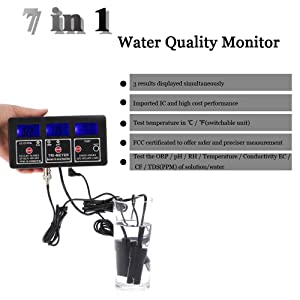 Water Quality Tester, KKmoon 7 in 1 Multi-Parameter Water Testing Meter Digital LCD Multi-Function Water Quality Monitor ORP/pH/RH/EC/CF/TDS(PPM) / Temp Tester (Color: Black)