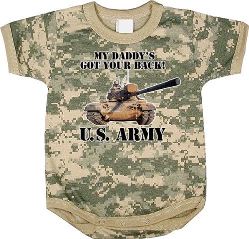 Acu Digital Camouflage Us Army Got Your Back One Piece Infant Bodysuit Size 3-6 Months