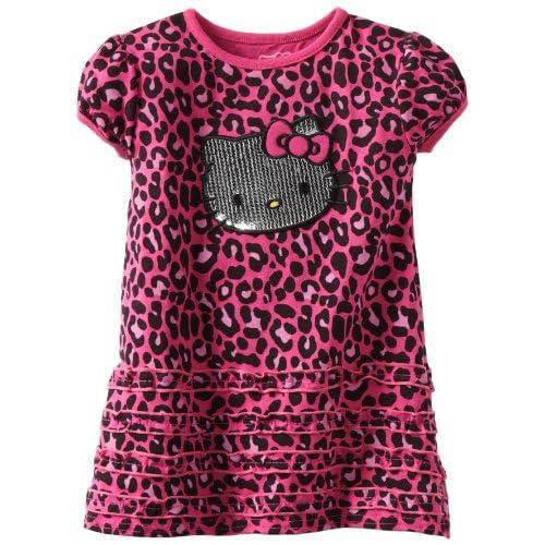 Hello Kitty Little Girls Cheetah Print Knit Dress, Very Berry, 2T