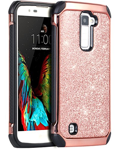 LG K10 Case, LG Premier LTE L62VL L61AL Case, BENTOBEN Sparkly Hybrid Hard Cover Laminated with Luxury Shiny Synthetic Leather Shockproof Protective Case for LG K10 MS428 K428SG Case, Rose Gold+Black (Lg Phone Case Cover compare prices)