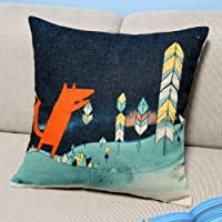 Animal Series Cartoon Style Lovely Red Fox Throw Pillow Case Decor Cushion Covers Square 18*18 Inch Beige Cotton Blend Linen from Leaveland