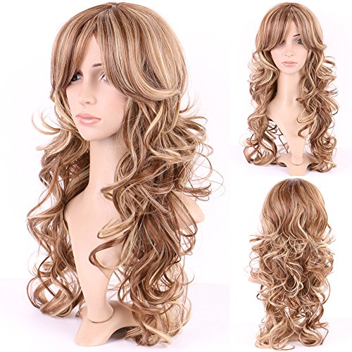 """S-noilite Long Curly Wig for Black Women Ombre Wavy Hair Lady Cosplay Party Dresses Costume Daily Fluffy Full Wigs (Light Brown Blonde Mix-20"""")"""