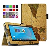 "Fintie Chromo 7"" Tablet Folio Case Cover - Premium Leather With Stylus Holder for Chromo Inc 7 Inch Android Tablet, Map Brown"