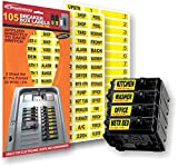 "Circuit Breaker Decals - 105 Tough vinyl labels for Breaker Panel Boxes - Great for Home or Office - Apartment Complexes and Electricians - Placed directly on Switch or Fuse - Bright ""Easy Read"" Color"