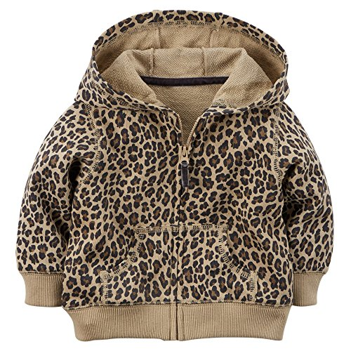Carter's Baby Girls' French Terry Hoodie (12 Months, Cheeta)