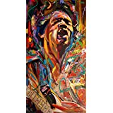 Tallenge Music & Musicians Collection - The Spirit Of Jimi Hendrix #1 - Medium Size Premium Quality Ready To Frame Rolled Canvas Art Print For Home Décor (10 Inch X 18 Inch)